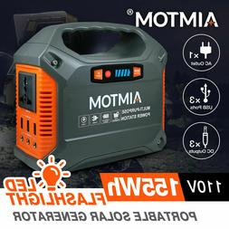 155Wh Portable Power Station 110V AC USB 12V DC CPAP Camping