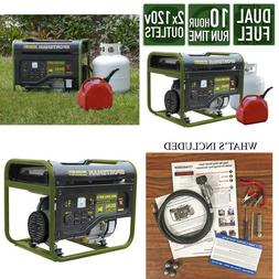 4,000/3,500-Watt Dual Fuel Powered Portable Generator, Runs