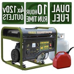 4,000/3,500-watt Dual Fuel Powered Portable Generator, Runs