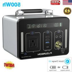 500Wh Portable Power Station Solar Generator 4 USB 400W Inve