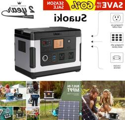 Suaoki 500WH Portable Solar Generator Power Bank Inverter Po