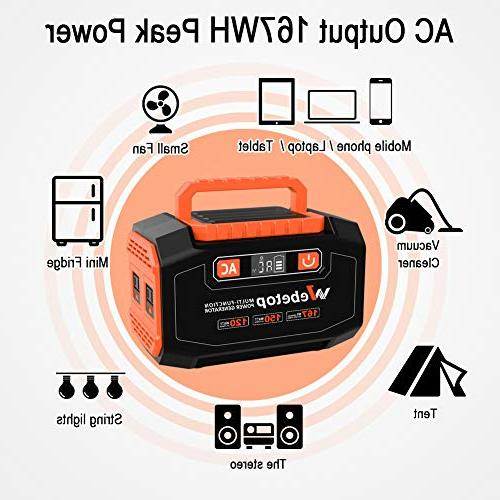 Webetop 167Wh Generator Camping Home UPS Power Solar Panel/Wall AC 3 12V,