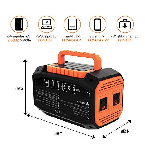 Webetop Portable Generator Inverter Camping Use UPS Solar Car 110V AC Outlet, 12V, 2 USB