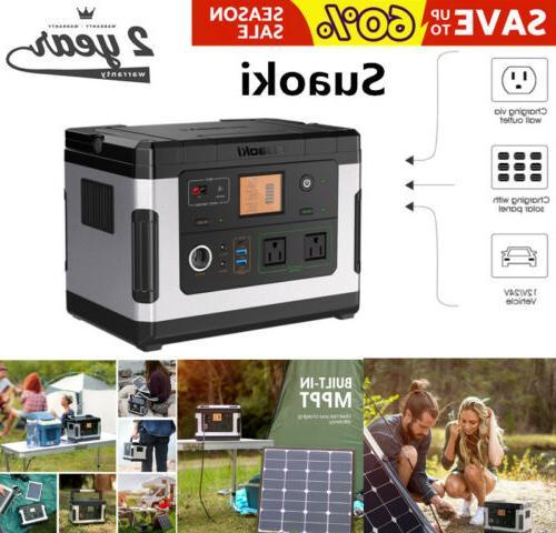 500wh portable solar generator power bank inverter