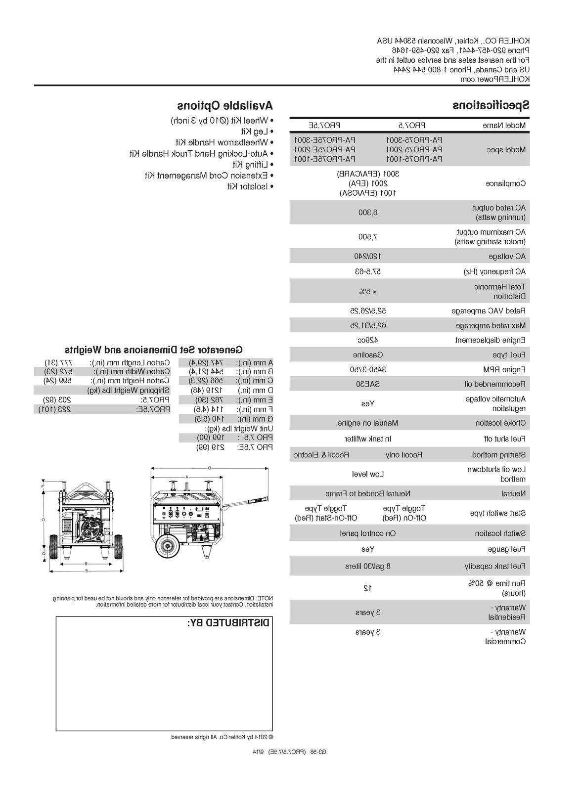 KOHLER 7500W PORTABLE GENERATOR - ELEC 3 YEAR CLOSEOUT