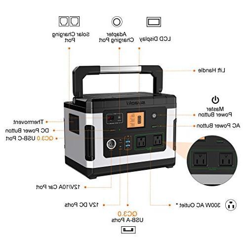 SUAOKI Solar Generators, Portable Camping Generator Pack 110V/300W Pure AC Inverter CPAP Emergency Outdoor