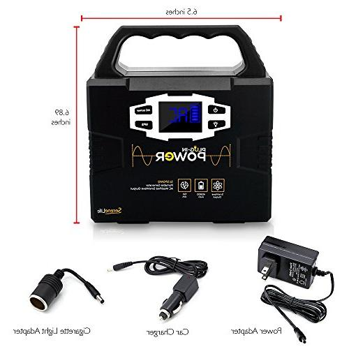 SereneLife 150Wh Power Free Inverter, Battery Pack, Charged by Solar Outlet/Car 110V AC DC 12V, Port
