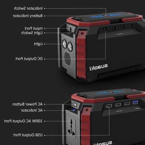 Suaoki 150Wh Solar Power Inverter Generator Supply Energy Storage 4-USB