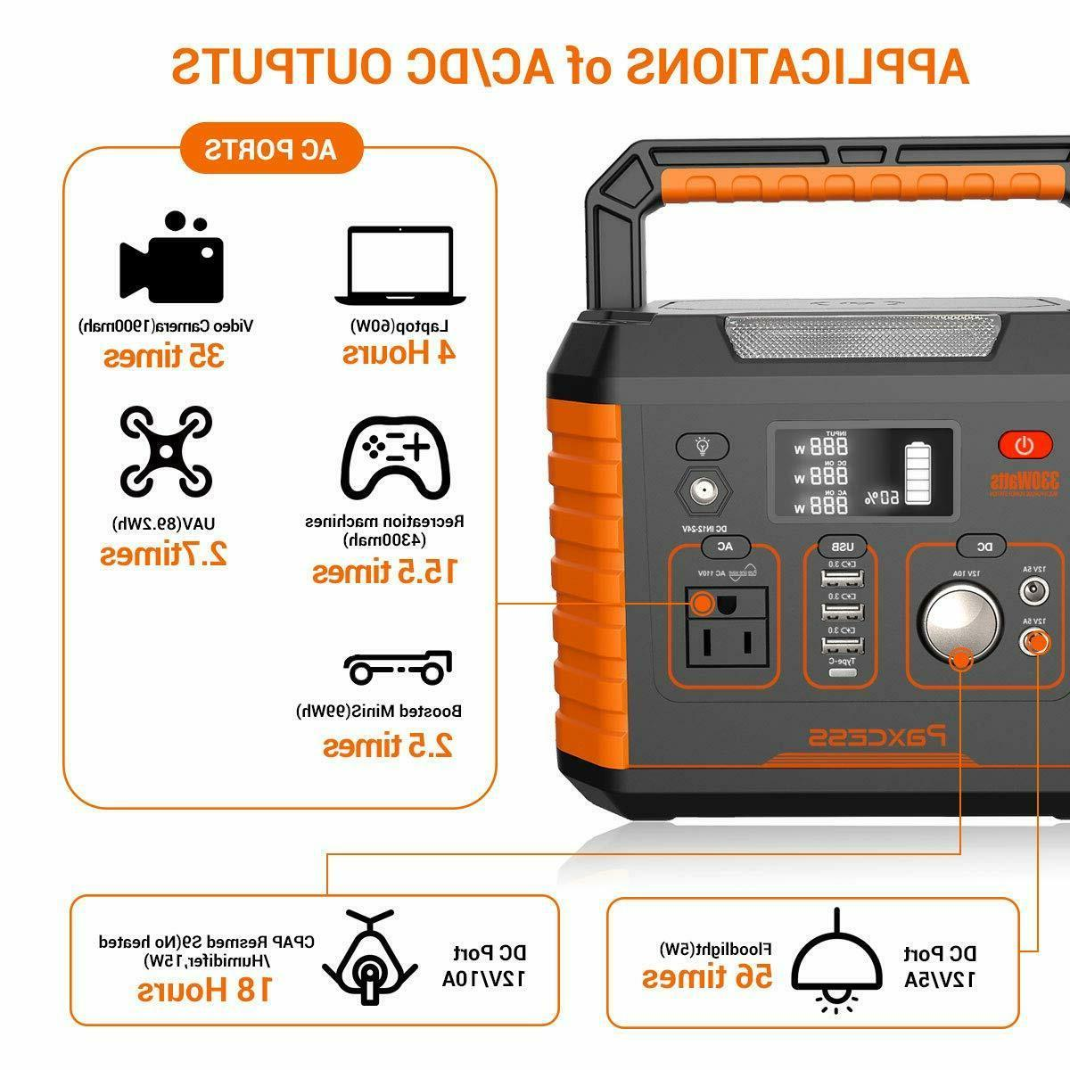 Portable Generator, 330W/78000mAh Portable Power Station, CPAP Battery P