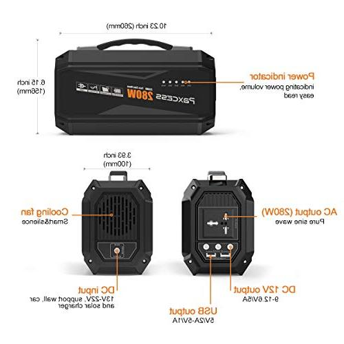 PAXCESS Generator 67500mAh Power Battery Pack Camping Supply with 110V AC Outlet,3 DC 12V,2 USB Port