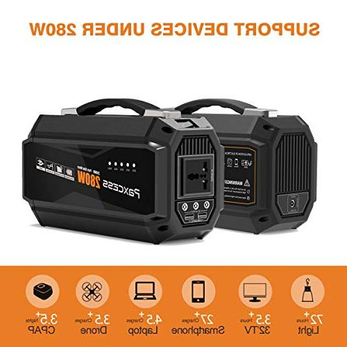 PAXCESS 280 Generator 67500mAh Lithium Power Backup Battery Supply AC Outlet,3 DC 12V,2 USB Port