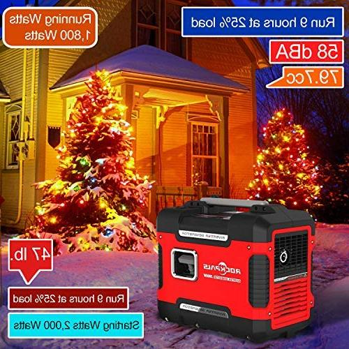 Rockpals 2000-Watt Inverter 9 Time Gas Power CARB Compliant With Dual AC 2 Ports, 12V DC