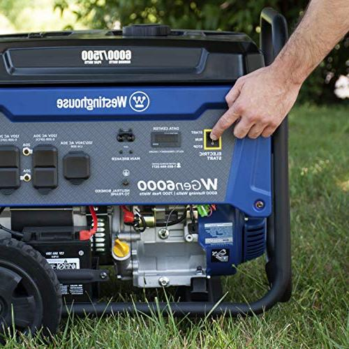 Westinghouse Portable Generator with 6000 Rated Watts 7500 Gas Powered Compliant