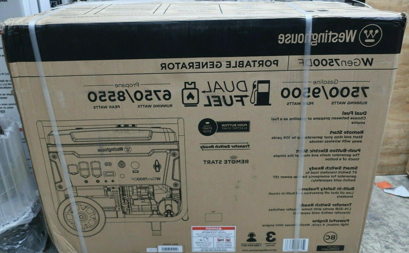 wgen7500df 9500w 25l dual fuel portable generator